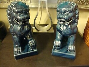 """2 Blue Chinese Ceramic Dogs * 8.5"""" height 4"""" wide 7"""" depth * 4 lbs 8 oz weight"""
