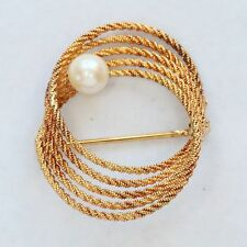 HEAVY VINTAGE UNO-A-ERRE SOLID 14K & PEARL SWIRL PIN, 6.7 g. EXC! Not Scrap!
