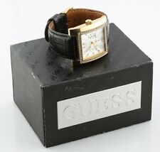 Women's Guess Stainless Steel Quartz Watch w/ Black Leather Band w/ Box & Papers