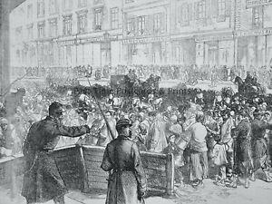 1871 Print PARIS RUE DE SEVRES, ENGLISH GIFTS OF FOOD RELIEF Franco Prussian War