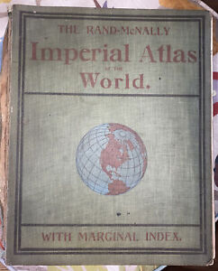 Rand McNally Imperial atlas of the world with marginal index. 1900 Very Rare