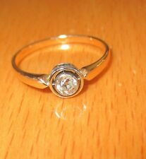 ANTIQUE OLD CUT 9ct YELLOW GOLD DIAMOND SOLITAIRE ENGAGEMENT RING SIZE O1/2