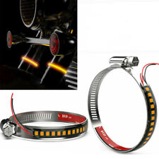 2PCS Amber LED Fork Turn Signal Indicators Blinkers Light Strips For Motorcycle