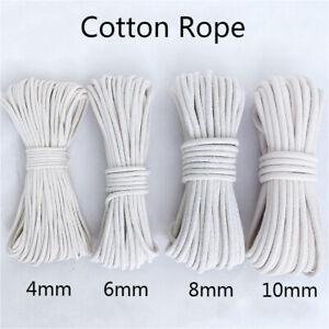 10M Coton Corde Ficelle Lavage Vêtements Poulie Macramé DIY 4-10mm Blanc