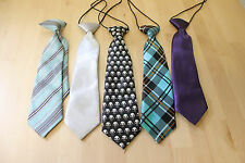 Youth Tie Lot of (5) Five Solid Plaid Skulls Halloween Holidays