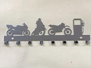 Chrome Motorcycle Motorbike Key Holder Rack 8 Hooks - Ideal Man Cave Mens Gift