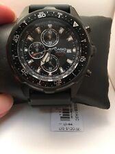 Casio AMW330B-1A1V Men's Black IP Marine Gear Chronograph Sports Diver Watch-H12