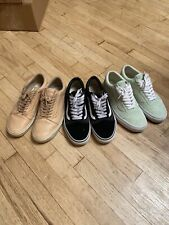 THREE PAIRS Of Vans Old Skool Low Size 10.5 Black, Tan, Pastel Green BUNDLE DEAL