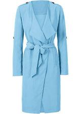 Neu Damen Trenchcoat in Gr. 42 Blau Stoffgürtel Jacke Mantel 925629 -7123A