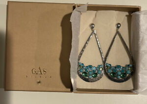 Gas Bijoux Byzance Turquoise And Crystal Tear Drop Earrings