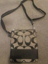 Coach Signature Stripe Black & Grey  Swingpack Slim Crossbody Messenger Bag VG