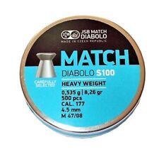 JSB MATCH DIABOLO S100 Heavy Weight M 47/08 4.52 mm .177 500 pcs airgun pellets