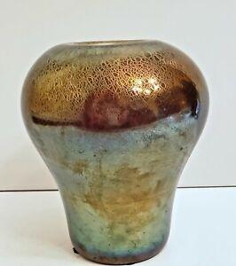 Imperial Art Stretch Glass Jewel Iridescent Vase Cross Mark c 1916 - 1930