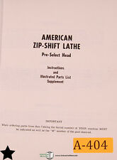 American Zip Shift Lathe Instructions And Parts Supplement Manual