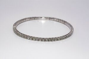 $9,500 4.65CT NATURAL ROUND CUT VVS DIAMOND TENNIS BANGLE BRACELET 14K GOLD