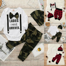 ❤️Newborn Baby Boys Tops Jumpsuit Romper Camo Plaid Pants Hat Outfits 3Pcs Set