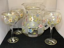 LOVELY WATER PITCHER & 3 MATCHING GLASSES - FLORAL DESIGN - MINT - R58