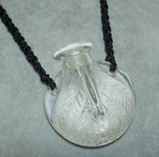 "Rare Lalique ""Flacon Cytheree"" Crystal Perfume Bottle Crocheted Necklace NIB !"