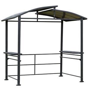 Grillpavillon mit Flammschutzdach BBQ-Pavillon mit 2 Ablagen Stahl PC Dunkelgrau