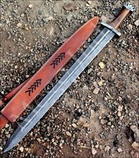 Handmade Damascus Steel Knife -32 Inches Rose Wood Handle Viking Sword 786-66