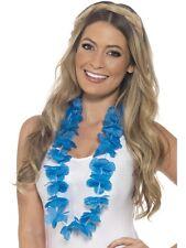 Disfraz Hawaiano Guirnalda FLORES AZULES Hawaiano Collar Nuevo Por Smiffys
