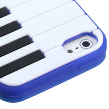 FOR iPhone 5 / 5S / SE SOFT SILICONE SKIN CASE RUBBER COVER PIANO KEYBOARD BLUE