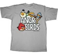 Angry Birds Men's Original Gray Short Sleeve Shirt - NEW