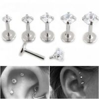 6mm Clear Prong Claw Set CZ Crystal Labret studs tiny triple forward helix steel