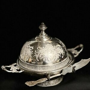 Vintage Antique Silver Plated Butter Dish with Butter Knife