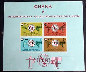 Ghana – 1965  Int. Telecommunication Union – Minisheet – Mint – (R8)