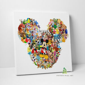 DISNEY MICKEY HEAD CHARACTERS Canvas Art Print Children Kids Picture Print -C763