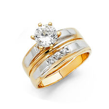 Women 14k Yellow White Gold CZ Solitaire Bridal Wedding Engagement Ring Band Her