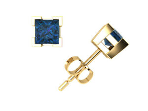0.50CT Princess Blue Diamond Stud Earrings 14k Yellow Gold V-Prong SI2 Push Back