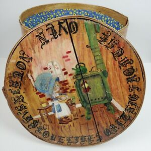 """Vintage Sewing Basket Made From Cheese Box Hand Made Painted 10.5x11.5"""""""