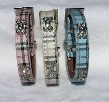 DOG/PUPPY COLLAR Tartan Check Plaid with Diamante Scottish Terrier Maltese Pom