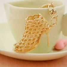 New Gold Crystal Shoe High Heel Keyring Pendant Key Bag Chain Ring Keychain Gift