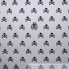 BonEful Fabric FQ Cotton Quilt White Black B&W Small Little Skeleton Skull Bone