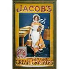 Jacob's Crackers Biscuit Maid Vintage Advertising Medium 3D Metal Embossed Sign