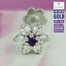 Real Diamonds & Amethyst Flower Wedding Nose Lip Labret Piercing Ring Stud Screw