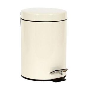 3LTR STAINLESS STEEL SMALL CREAM PEDAL BIN KITCHEN BATHROOM TOILET WASTE DUSTBIN