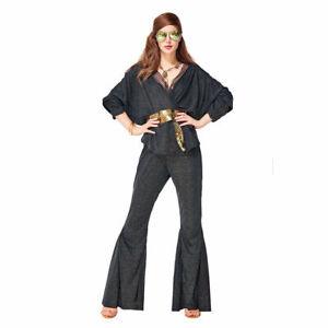 Women Vintage 70s Disco Dazzler Bell Bottoms Groovy Party Dress