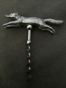 OLD QUALITY PLATED FOX HOUND CORKSCREW.