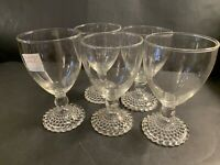 Anchor Hocking BUBBLE FOOT Water Goblets Set of 5 Clear Glass Goblet Glasses