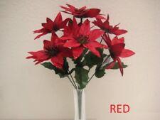 "4 Bushes RED Xmas Poinsettia 7 Artificial Silk Flowers 12"" Bouquet 209RD"