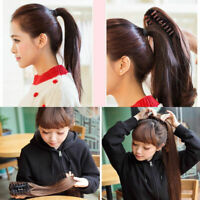 """Women Wavy Curly Human Claw Clip In Hair Extensions  Ponytail 15""""-26"""" Ponytails"""