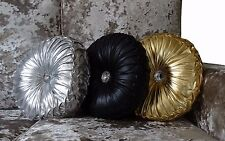 Round Cushion Luxury Diamante Chic Filled Scatter Cushion Round NEW SHINY