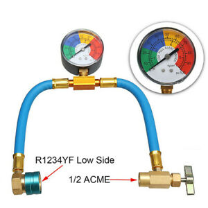 Car Air-conditioning Refrigerant Pressure Charging Hose w/Guage A/C R-1234yf Kit