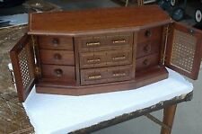 "Vintage Wood w Cane Men's Jewelry Box Valet for Dresser Top ""made in Japan"""