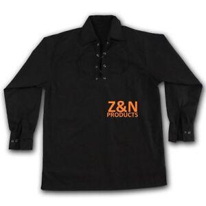 Scottish Black Jacobite Ghillie Kilt Shirt with Leather Cord Sizes S - - 5XL