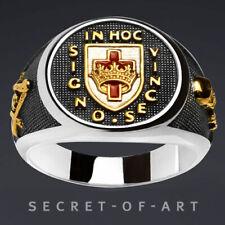 Knights Templar Ring Masonic 925 Silver for Freemason In Hoc Crown Cross Skull